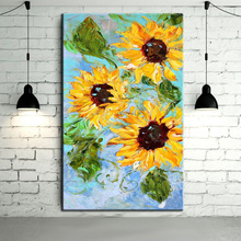 Professional Painter Team Directly Supply High Quality Good Texture Knife Flower Picture Handmade Sunflowers Oil Painting Decor