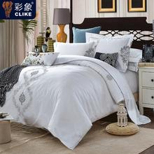 White Embroidery Five-Star Hotel home textile tribute silk duvet cover queen king 4pcs bed linen bedclothes bedding set pillow