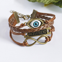 Friendship Vintage Blue Turkey Evil Eye Infinity Religious Charm Bracelet  Lucky Jewelry for Men Wome Brown Bracelet 1B070