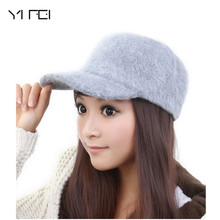 YIFEI 11 colors brands winter warm hat 2017 new women Rabbit hair caps baseball caps fashion peaked cap Solid color cap