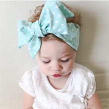 DIY:do baby big bowknot  yourself  cute dot print baby girls bow headband headwrap children hair accessory
