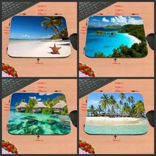 Hot Selling Beach Scenery Design Silicon Anti-slip Mousepad Computer Mouse Pad Mat For Optical Mice Trackball Mouse As A Gift(China)