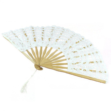 PHFU Handmade Cotton Lace Folding Hand Fan for Party Bridal Wedding Decoration ( White)