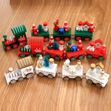 4pcs Mini Wood Train Toys Xmas Decoration Ornamental Christmas Innovative Train Wooden Model Vehicle Gift Toys For Chidlren