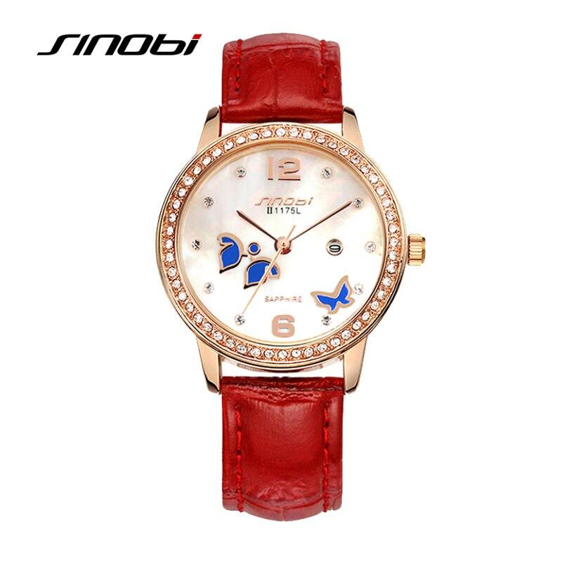 SINOBI Ladies Luxury Stainless Steel Wrist Quartz-Watch Women Fashion Red Leather Diamond Wristwatches Female Butterfly Watches<br>