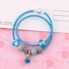 High Quality Best Wish For Family Love Heart Crystal Water Drop Charm Bracelets For Women Fashion Beads DIY Jewelry Gift