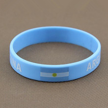2pcs Argentina Flag Soccer Sport Wristband World Cup Football Team Silicone Wrist Strap Elastic Bracelet Bangle Souvenir 2018(China)