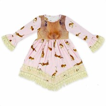 New Baby Girls Easter Bunny Dress Ruffles Tassels Cute Children Long Sleeve Spring Fall Dress Wholesale(China)