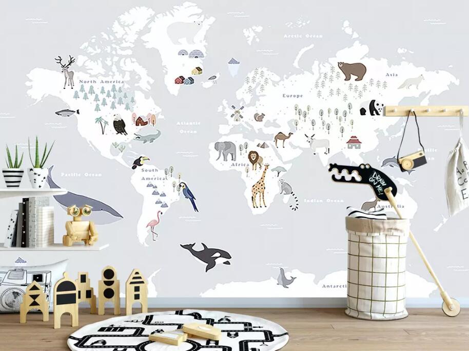 HTB1VN nkIUrBKNjSZPxq6x00pXaX - Beibehang large 3D animal map wallpaper For children room