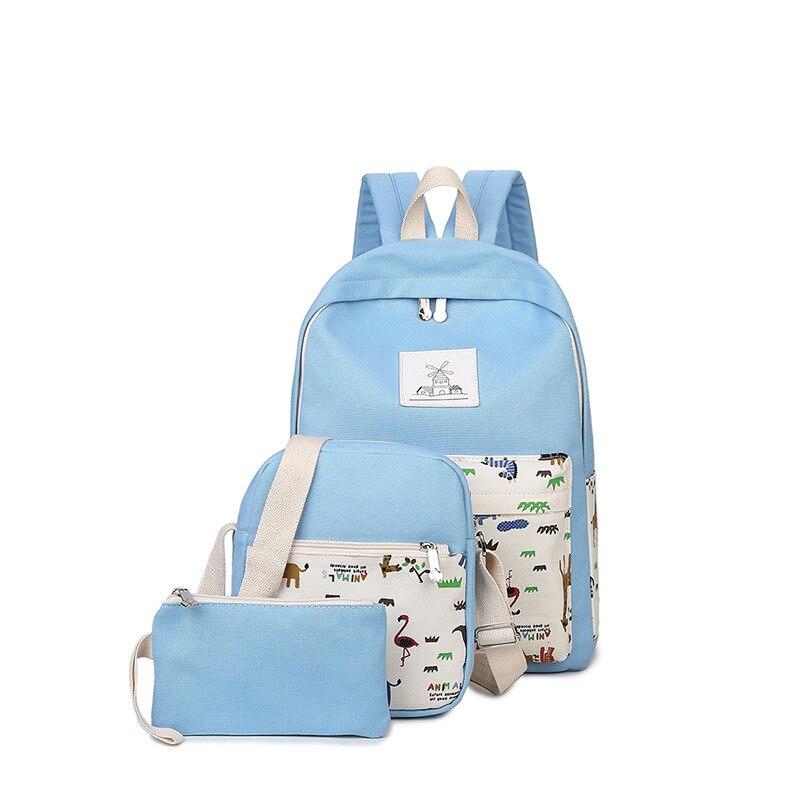 2016 Women Canvas Backpack Cute Character Printing Backpacks Womens Travel Bags Mochila Rucksack Shoulder Bag 3pcs/set<br><br>Aliexpress