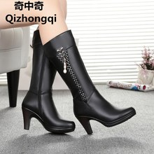 2017 Winter Women's Genuine Leather High-heeled Boots, Wool Lined Boots,  Fashion High Quality Motorcycle Boots, Free Shipping