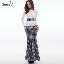 Dressv 2017 Polka Dot mermaid evening dress white long sleeves scoop neck lace trumpet evening dress formal party prom dress(China)
