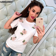 LAISIDANTON 2017 New Brand Summer Tops Fashion Clothes for Women Bead Flower T Shirt Red Black Female T-shirt Camisas Rainbow