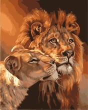 Lion of mother and child Pictures DIY Painting By Numbers Hand Painted Oil On Canvas Wall Painting Home Decoration(China)