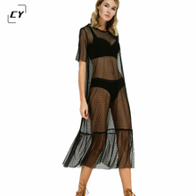 Summer Beach Dress Women Black Ruffle Hem Sheer Dotted Mesh Sunscreen Dress Ladies Short Sleeve High Low Sexy Midi Dress(China)