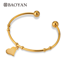 Wholesale Gold Heart Charm Stainless Steel Metal Bangles For Llittle Girls New Year Christmas Gift