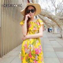 2017 Summer New Product  Female Seaside Printing Chiffon Bohemian Long Beach Dress LY051