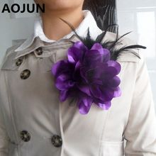 AOJUN New Flower Feather Brooch Hair Accessories Wedding Corsage Large Brooches For Women Men Broches Jewelry Rooch 2XZ01
