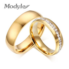 Modyle Gold-color Wedding Bands Ring for Women Men Jewelry 6mm Stainless Steel Engagement Ring(China)