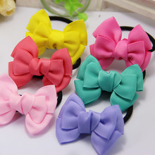 5PCS Sweet Solid Bow Elastic Hair ropes Kids Hair ties Adorable Ponytail Holder DIY Hair Accessories FQ2566