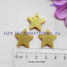 "(70pcs/lot) 20 mm Acrylic Star With Hole Gold Glitter Acrylic Gift Tags 0.8""-AC1105E"