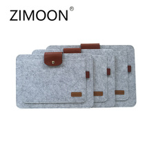 "Zimoon Felt Laptop Sleeve Bag Buckle Notebook Case Computer Smart Cover Handbag For 11"" 13"" 15"" Macbook Air Pro Retina Ipad"