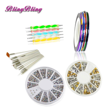 Acrylic Nail Kit Manicure Nail Stickers Rhinestones 3D Pens Drawing Brushes for Gel Polish Nail Art Design DIY Nail Accessories