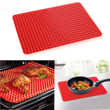 Nonstick Silicone Red Pyramid Pan Oven Mat BBQ Grill Pan Cooking Mat Baking Tray Sheet Baking Pastry Tools Kitchen Accessories