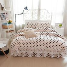 Black dots 100% cotton princess 3pcs/4pcs bedding set girl kids lace bedskirt comforter/duvet cover pillowcase bedlinen set/3913(China)