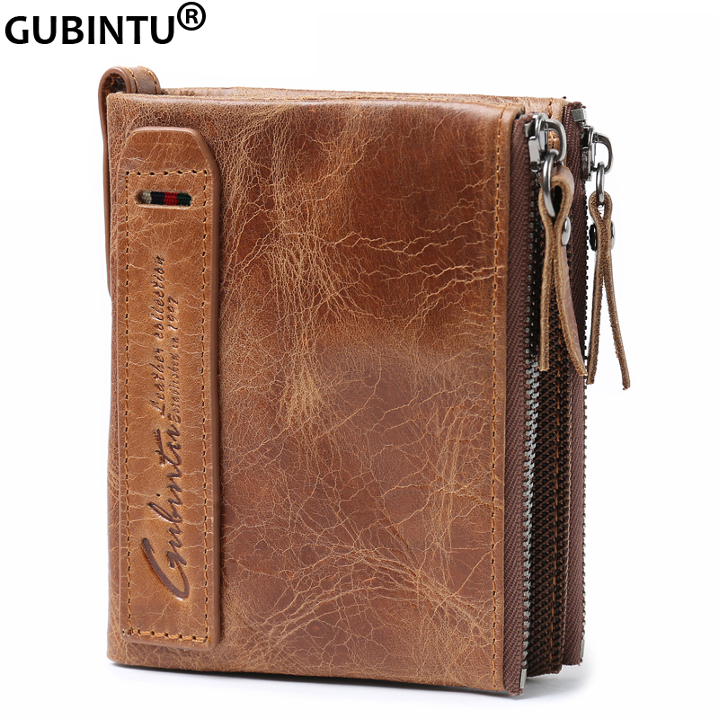 GUBINTU Men wallets Vintage Double Zipper Genuine Crazy Horse Cowhide Leather Short Bifold Mens Wallet Coin Purse<br><br>Aliexpress