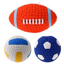 Pet Dog Rubber Toy Sound Squeaker Football/Volleyball/Rugby Balls Toys for Pet Puppy Dog Teeth Training Supplies(China)
