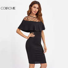 Buy COLROVIE Dot Mesh Neck Elegant Dress Black Flounce 2017 Women Sexy Bodycon Midi Summer Dresses New Patchwork Ruffle Party Dress for $13.98 in AliExpress store
