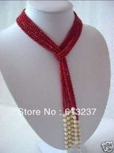 Fashion 5mm red artificial coral white pearl round beads scarf necklace for women fashion jewelry making 50inch MY4603