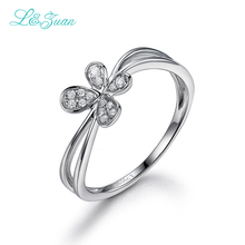 L&zuan 18K White Gold Ring 0.06ct Natural Diamond Trendiest Rings Fine Jewelry For Women
