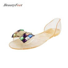 Summer Sandals Women Shoes Woman Sandals Crystal Solid Beach Shoes Plastic Floral Slip on Casual Shoes Sandalias Mujer(China)
