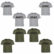 Summer US Army Navy Air Force USAF Marines USMC Military Physical PT T Shirt Men Funny Brand O Neck Print Cotton Casual Shirts