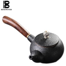 180ml Vintage Japanese Black Pottery Teapot Ceramic Side Handgrip Tea Pot Kung Fu Tea Set for Puer Black Tea Coffee Drinkware