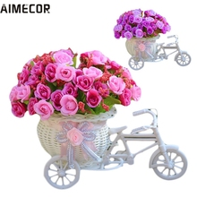 Lovely pet hot selling Home Furnishing Decorative Floats Bicycle Basket Weaving Simulation Set Diamond Rose Flowers Jun16