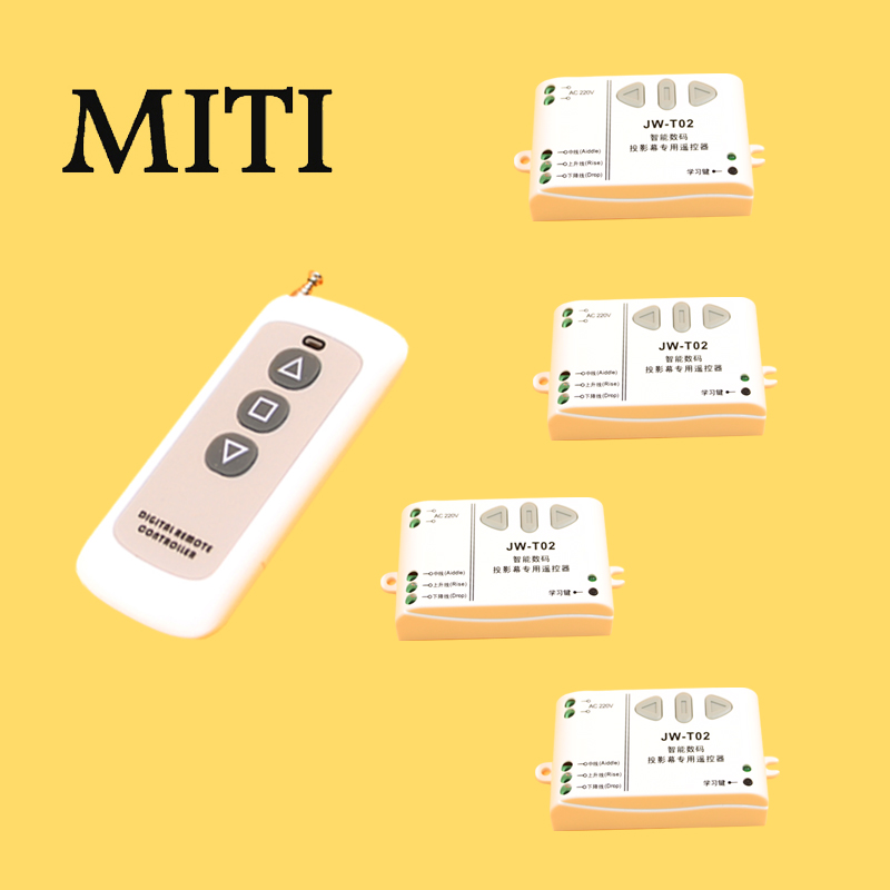New JW-T02 AC220V Intelligent Digital RF Wireless Remote Control Switch System for Projection Screen 4x Receive+1x Transmitter<br>
