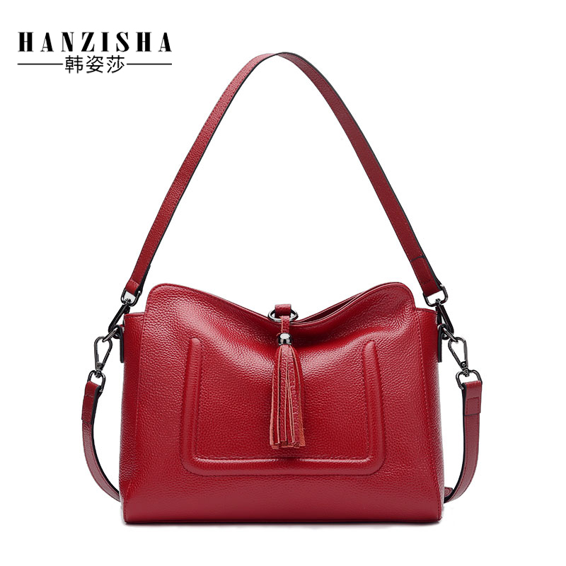 2017 Brand Fashion Genuine Leather Women Bag Casual Tassel Women Messenger Bag Natural Leather Women Crossbody Bag Female Bolsa <br>