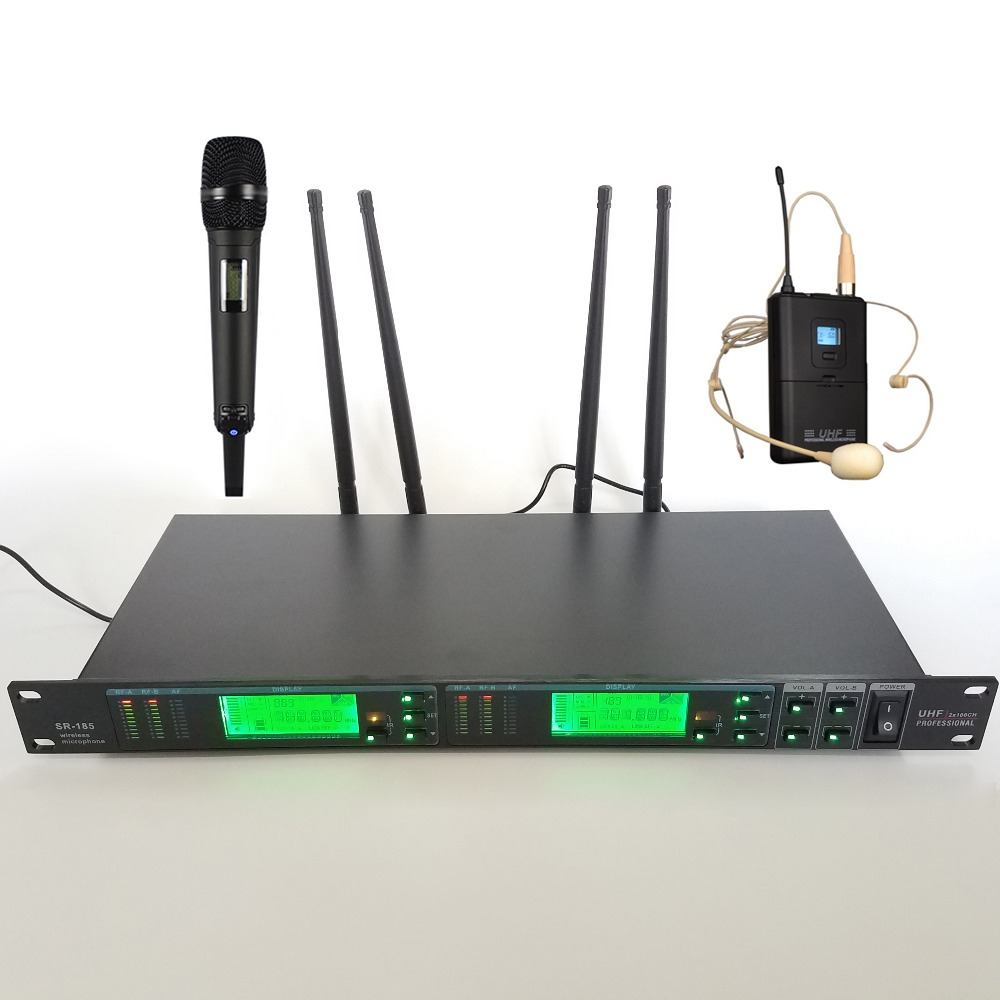 True diversity Professional Stage Wireless Microphone Headset Microfone Dual channel uhf Stage Microfono Microfon Mic rack mount