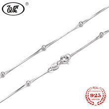 "WK NEW Pure 925 Sterling Silver Necklace Snake Chain With Ball 16"" 18"" Long Solid S925 Necklaces Woman Girls Party Gift W4 NA015(China)"