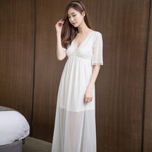 Buy Summer Sexy Princess Dress female Korean palace lace Nightdress transparent V-Neck Sleepwear Women Nightdress Home Clothing for $20.79 in AliExpress store