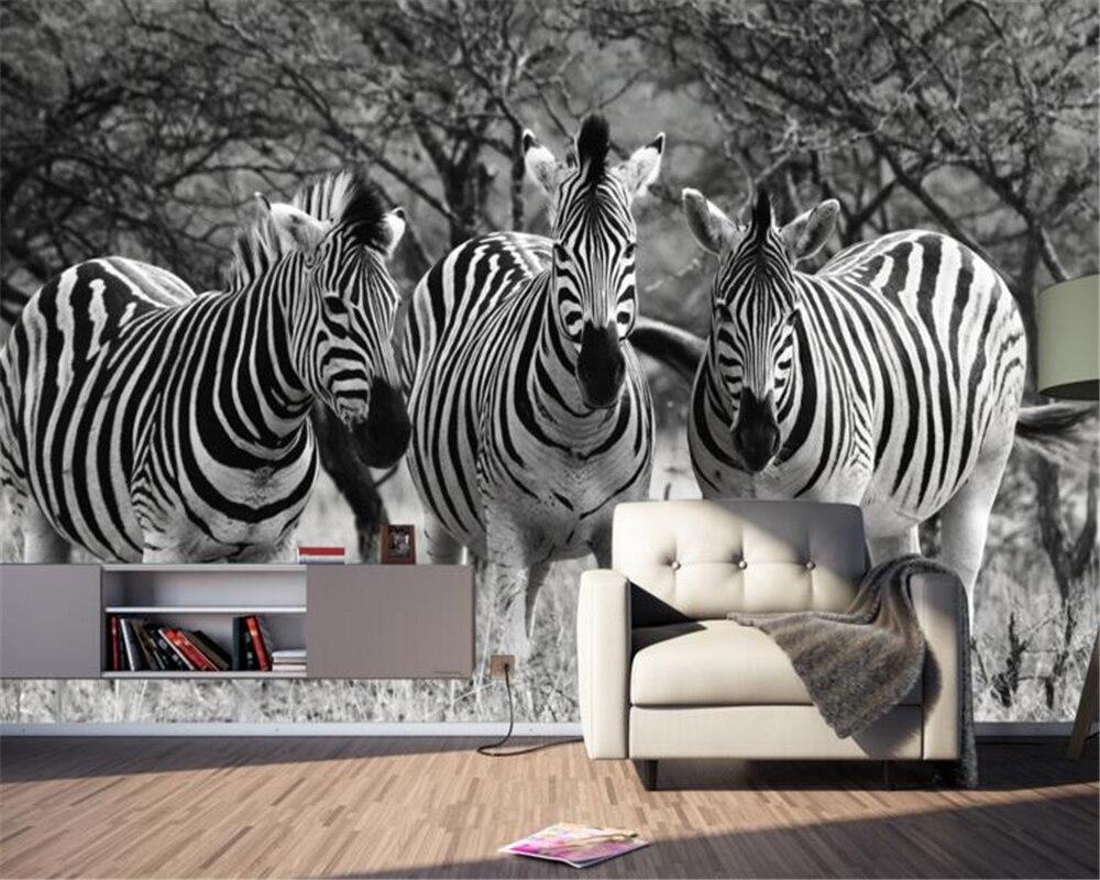 wallpaper for walls 3d Custom 3D wallpaper black and white zebra animal background wallpaper mural sofa TV home decoration mural<br><br>Aliexpress