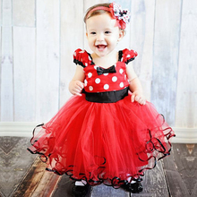 Cute Girl Dress Children Minnie Costume For Kids Clothes Princess Dress Flower Robe Fille Toddler Girl Red First Birthday Outfit