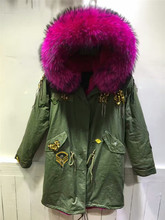 Indian Beading rose red raccoon fur collar parkas women winter coat hooded long jacket(China)