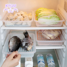 Food drain water crisper plastic seafood box kitchen refrigerator rectangular food frozen storage box(China)