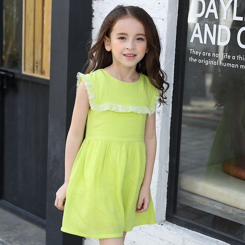 chiffon princess girls dresses children spring sundress sleeveless green big little girls dress summer 2017 brand kids clothes<br><br>Aliexpress
