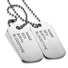 Boniskiss Stainless Steel Dog Tag Necklace Trendy Men Necklace Jewelry High Polished Pendentif Jewelry(China)