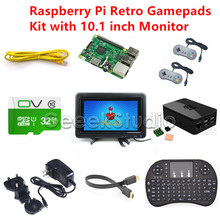 Raspberry Pi 3 Model B 32GB RetroPie Game Kit with 2pcs Gamepad Joystick and 10.1 inch 1366*768 LCD Display LCD Screen Monitor(China)